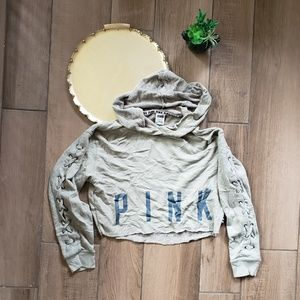 VS Pink lace up arms Cropped Hoodie S olive green